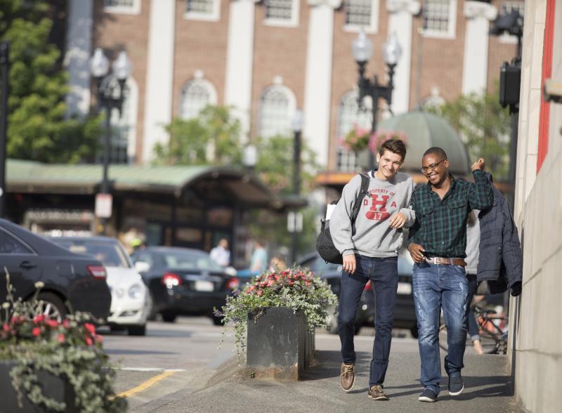 Students walking in Harvard Square